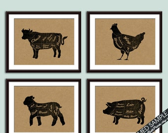 Beef, Chicken, Lamb and Pork (Butcher Diagram Series) - Set of 4 - Art Prints (Featured Black and Tan) Kitchen Prints
