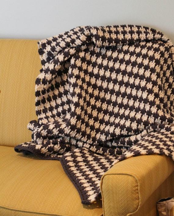 Pattern Crochet Houndstooth Blanket Afghan Throw Pattern