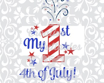 Patriotic SVG 1st 4th of July for  Silhouette or other craft cutters (.svg/.dxf/.eps)