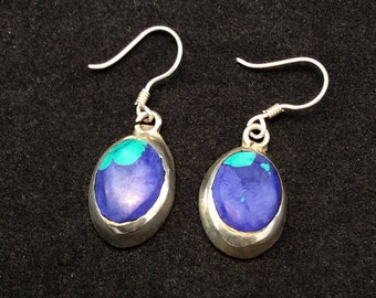 Vintage Sterling Silver Green and Blue Azurite Dangle Earrings, Blue and Green Azurite Earrings