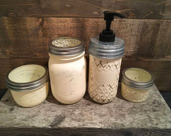 Mason jar bathroom set decor, rustic bathroom decor, farmhouse bathroom decor, mason jar soap dispenser toothbrush holder, mason jar decor