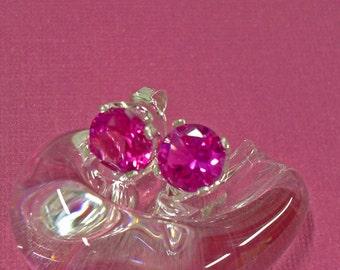 Sapphire Earrings - 8mm Bright Pink Sapphire Post Earrings - Sterling Silver Post Earrings