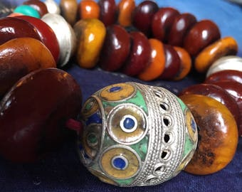 Moroccan Berber Necklace with Tagmoute Enamel Eggbead, Resin, Metal & Old plastic Beads