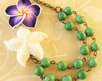 Statement Necklace Starfish Necklace Starfish Jewelry Beach Jewelry Bib Necklace