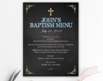Menu bautizo chico, chalkboard, menu imprimible, baptism menu, menu cards, digital file, bautizo, comunion, fiesta, gold baptism BFC01