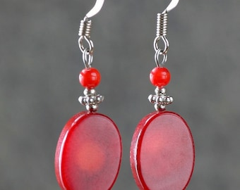 Red coral drop earrings Bridesmaid gifts Free US Shipping handmade Anni designs