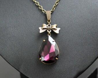 Necklace, vintage drop-violet, necklace, necklace, pendant, steampunk, fantasy
