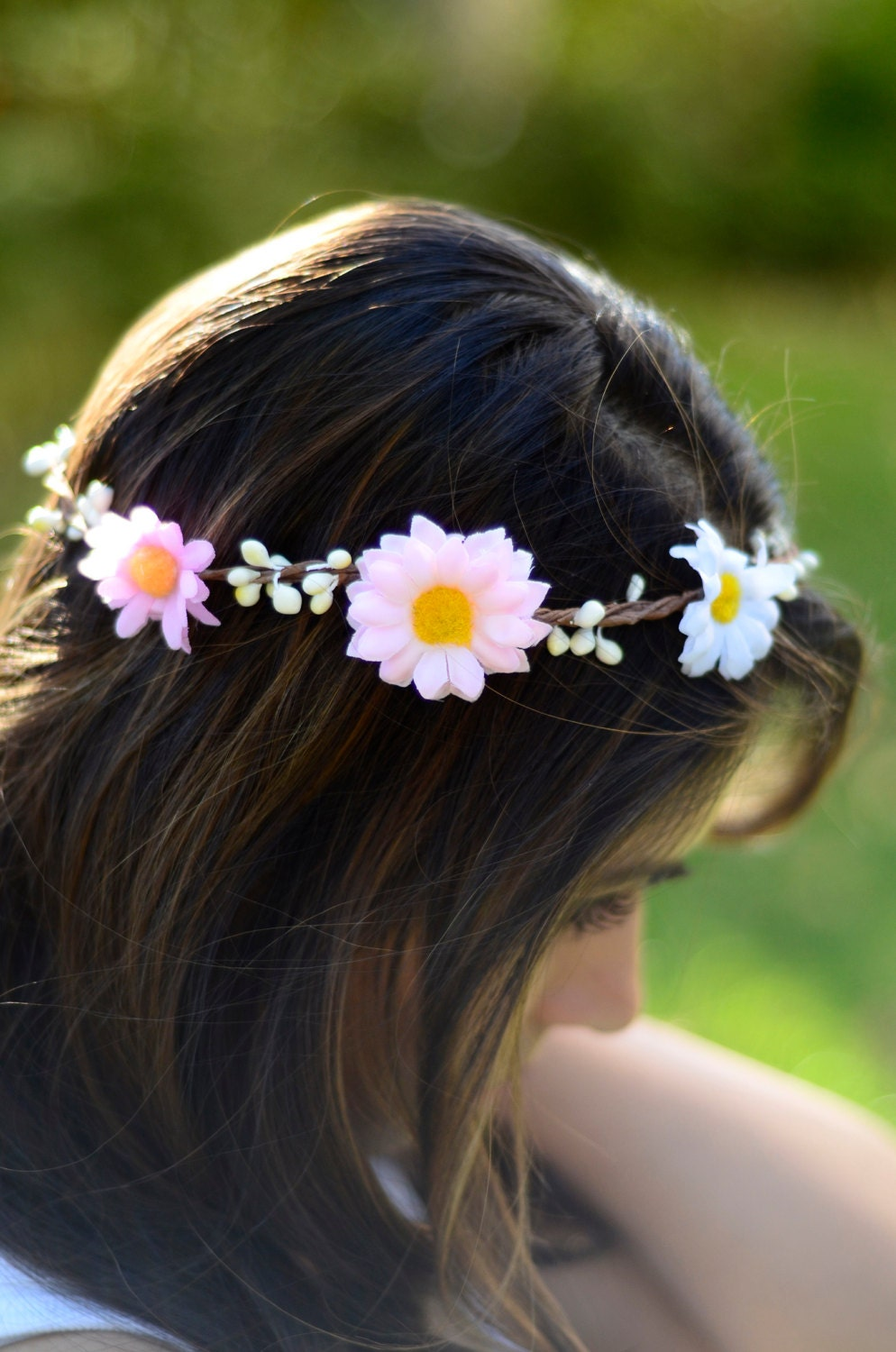 The sienna sale pink white flower crown sunflowers prom zoom izmirmasajfo