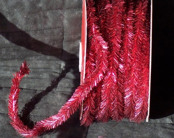 Jumbo roll red wired tinsel garland,72 ft roll,0.5 inch wide,crafts,4th of July,Christmas,Valentine's,wreaths