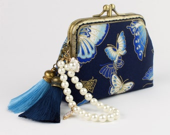 Hand crafted Japanese coin purse of butterflies on bronze coloured double kiss lock frame #0156