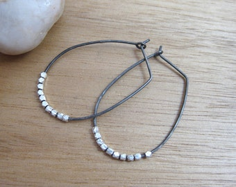 Oxidized Silver Hoop Earrings Sterling Silver Oblong Hoops Everyday Earrings Embellished Hoops Minimalist Earrings Minimalist Jewelry