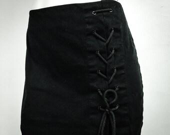 90's Black Lace Up Corset Mini Skirt S - M