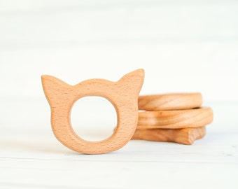 Wood Kitty Teether - Wooden Toy - Organic Baby Toy -