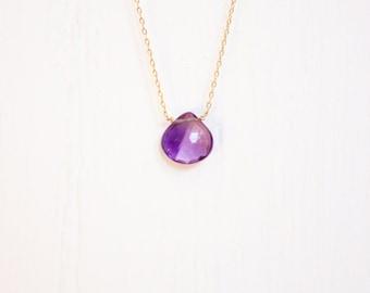 Handmade delicate gemsotine necklace. Amethyst teardrop on a 14kt gold filled chain.