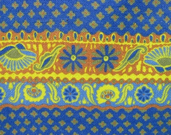 """Vintage 1960s Fabric / 60s Cotton Duck Folk Print Yardage / 30"""" / 44"""" Width / Two Pieces Available"""