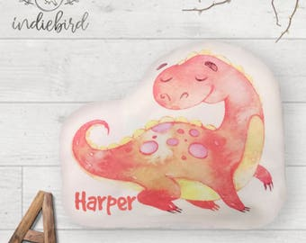 Personalised Dinosaur Pillow, Dinosaur Plush Pillow, Dinosaur Cushion, Baby Gift, Nursery Cushion, Kids Pillow, Kids room decor.