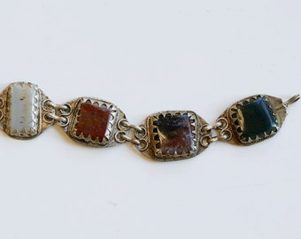 1960s Afghan kuchi earth tone agates link bracelet / 60s vintage Afghani silver and agate stone tribal bracelet