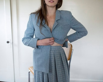 100% wool Pendleton plaid skirt + blazer suit   90s matching suit   women's suit   vintage suit   vintage wool  plaid blazer and skirt