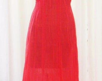 Double Chiffon Vintage Nightgown Al Sterling Red Floor Length 60s Small