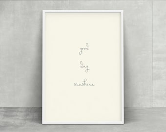 Sunnybonbon simple modern callighaphy poster - good day sunshine - instant download printable home decor poster