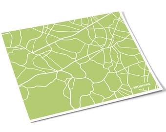Brookline City Map Art Print / Massachusetts Line Art Map Poster / 8x10 Digital Print / Choose your color