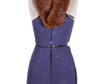1950s Deep Caramel Brown Mink Fur Collar Coat Clip by McDaniels