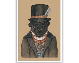 Pug Art Print - The Banker - Black Pug Paintings - Retro Dogs - Pet Kingdom by Maria Pishvanova