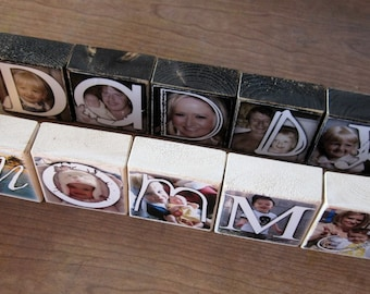 Parent GiFT for your wedding- Personalized Wooden Photo Blocks- DADDY Mommy Sissy GRAMA- set of five letter blocks