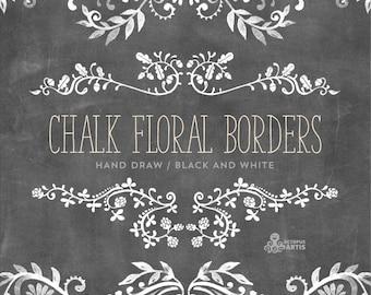 Chalk Floral Borders. 7 Digital Clipart. Hand draw, chalkboard, wedding elements, flowers, invitation diy, embellishment, ornamental.