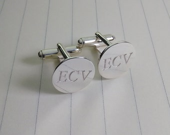 Silver Engraved Cufflinks,Wedding Cufflinks,Silver Men CuffLinks,Personalised Cufflinks,Groom Wedding Gift,Gift for Fathers Day