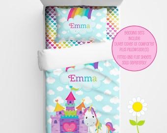Personalized Unicorn Bedding for Kids - Unicorn Duvet or Comforter for Girls - Personalized Duvet Set for Kids - Custom Kids' Comforter