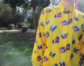 80's Fashionista top (yellow)