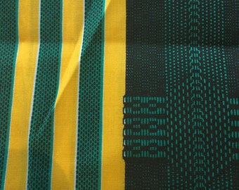 "Ankara Wax Print Cotton Fabric // 56x44"" plus 23x17"" > emerald green, yellow, black stripes > Unused"
