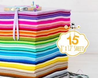 "100% Wool Felt Sheets - 15 Sheets of 8"" X 12"" - Merino Wool Felt - Pure Wool Felt Sheets - 15 Wool Felt Sheets - You Choose your Colors"