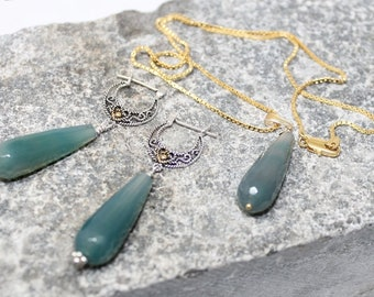 NEW! Necklace and earrings set, gold vermeil, sterling silver, Agate, semi precious, womans, handmade, unique, gift for her, free shipping