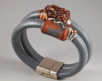 Silver Gray Double Licorice Leather Bangle Bracelet - Copper Wire Wrapped No. 176