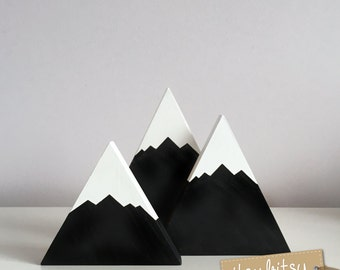 Home Decor, Painted Wooden Mountains Set, Nursery Decor, kids decor, monochrome decor, new baby gift - You choose colours to match your room