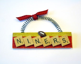 San Francisco 49ers Football Scrabble Tile Ornaments