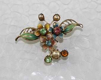 Vintage Floral Spray with Rhinestones Brooch, J180