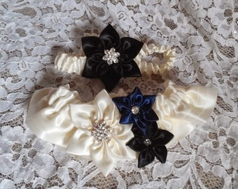 Wedding Garter Set with Handmade Star Flowers in Ivory, Black & Navy Blue on Ivory - Something Blue Bridal Garter Set