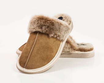 Hand crafted Luxury Womens Genuine Sheepskin Mule Slippers, 100% Fur Lined