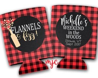 Flannels & Fizz Bachelorette Party/Wedding Drink Huggers/Can Insulators - Weekend in the Woods