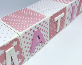 Wooden Name Blocks - Pink & White Stars