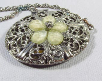 Silver filigree oval locket acrylic cabochons tiny rhinestones necklace.
