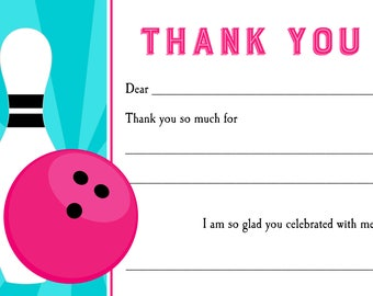 Bowling Thank You Note Printable - Instant Download - Fill In The Blank - Girl Bowling Collection