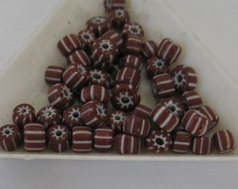 46 pieces  Glass Beads ,Rust and White    4-5mm