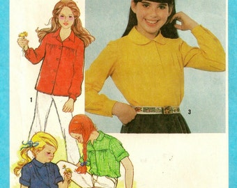 """A Long or Short Sleeve Shirt Sewing Pattern w/Rounded or Convertible Collar: Uncut - Girl's Sizes 7 & 8, Breast 26"""" - 27"""" • Simplicity 9564"""