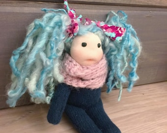 Natural fiber waldorf inspired doll with blue hair