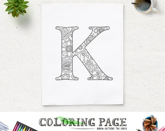 SALE Instant Download Coloring Page Floral Printable Alphabet with Texture Digital Art Printable Coloring Pages Adult AntiStress Art Therapy