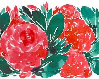 RED Floral Abstract Original WATERCOLOR Painting